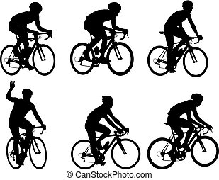 silhouettes, cyclistes, courses, collection
