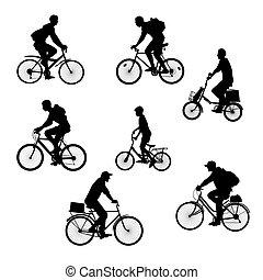 silhouettes, cyclistes, ensemble