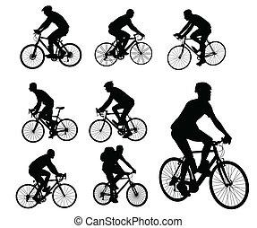 silhouettes, cyclistes