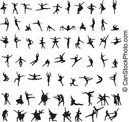 silhouettes, danseur, ensemble, ballet