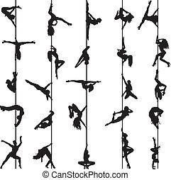 silhouettes, danseurs, ensemble, poteau