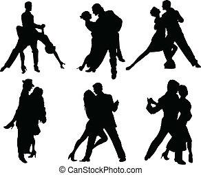 silhouettes, danseurs, tango