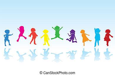 silhouettes, dessin animé, enfants