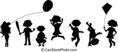 silhouettes, dessin animé, foule, jouer