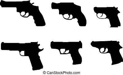 silhouettes, divers, fusils, main