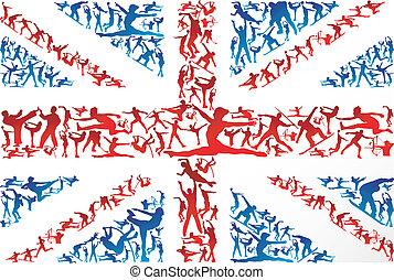 silhouettes, drapeau, royaume-uni, sports