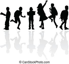 silhouettes, education, enfants