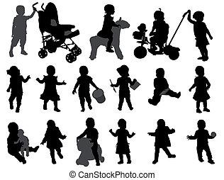 silhouettes, enfantqui commence à marcher, collection