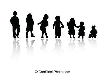 silhouettes, enfants, -