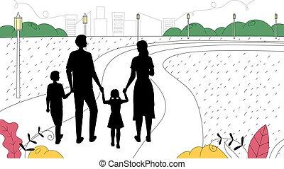 silhouettes, enfants, arrière-plan., outdoor., mains, mère, linéaire, illustration, parc, cityscape, marche, famille, dessin animé, père, plat, contour, vecteur, concept., tenue, gens, loisir