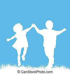 silhouettes, enfants courant