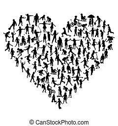 silhouettes, enfants, forme coeur