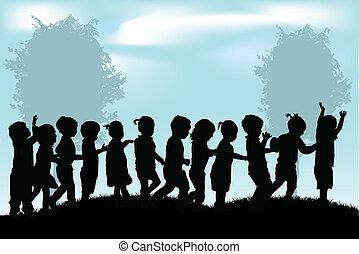 silhouettes, enfants, groupe
