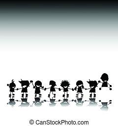 silhouettes, enfants, styilized