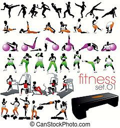 silhouettes, ensemble, 40, fitness