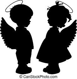 silhouettes, ensemble, ange