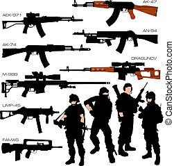 silhouettes, ensemble, automatique, armes