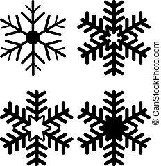 silhouettes, ensemble, flocon de neige