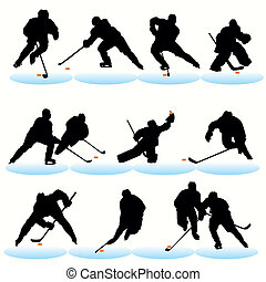 silhouettes, ensemble, hockey, glace