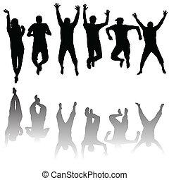 silhouettes, ensemble, jeune, sauter, gens