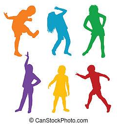 silhouettes, ensemble, jouer, coloré, enfants