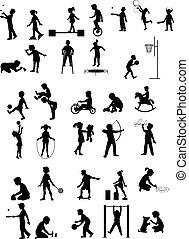 silhouettes, ensemble, jouer, enfants