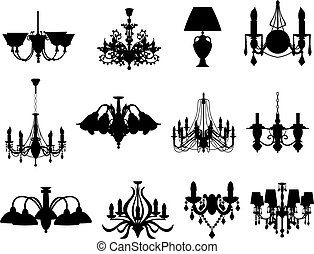 silhouettes, ensemble, lampes