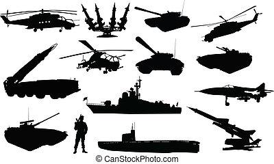 silhouettes, ensemble, militaire