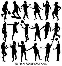 silhouettes, ensemble, noir, enfants