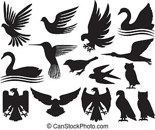 silhouettes, ensemble, oiseaux