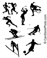 silhouettes, ensemble, -, sports