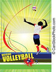 silhouettes, ensemble, volley-ball, femmes