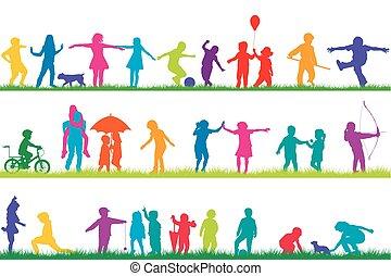 silhouettes, extérieur, ensemble, jouer, enfants