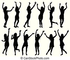silhouettes, femmes, isolé, illustration, heureux