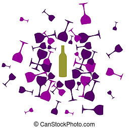 silhouettes, fond, verres vin, bouteille, vin