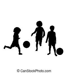 silhouettes, football, gosses