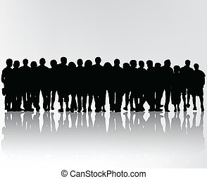 silhouettes, foule