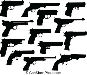 silhouettes, fusils
