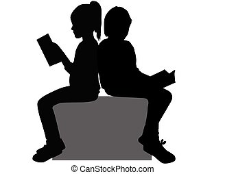 silhouettes, gens, book.