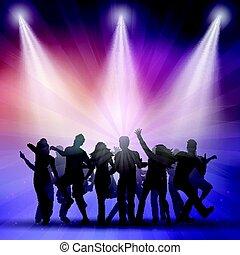 silhouettes, gens, danse