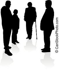 silhouettes, gens., senior.