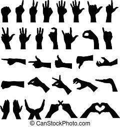 silhouettes, geste main, signe