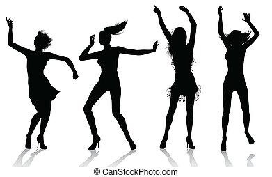 silhouettes, girl, danse