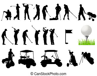silhouettes, golf, hommes, jouer