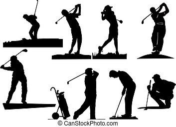 silhouettes, golfeur, huit