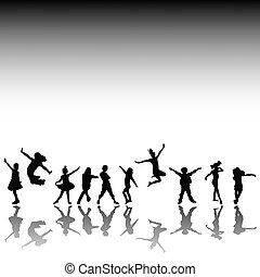 silhouettes, gosses, heureux