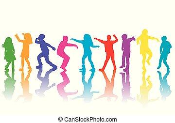 silhouettes, groupe, enfants, coloré, danse