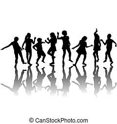 silhouettes, groupe, enfants, danse