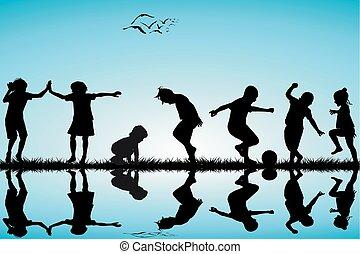 silhouettes, groupe, enfants jouer
