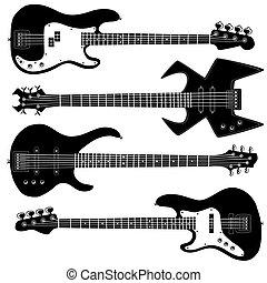 silhouettes, guitare, vecteur, basse